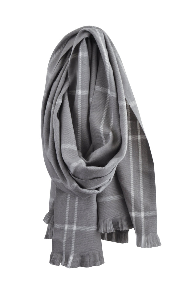 Knitted Scarf - GREY STRIPE