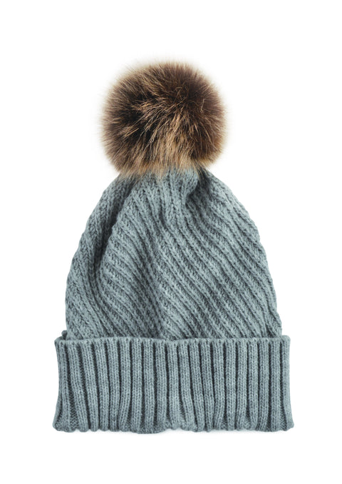 Fine Cable Beanie - GREY