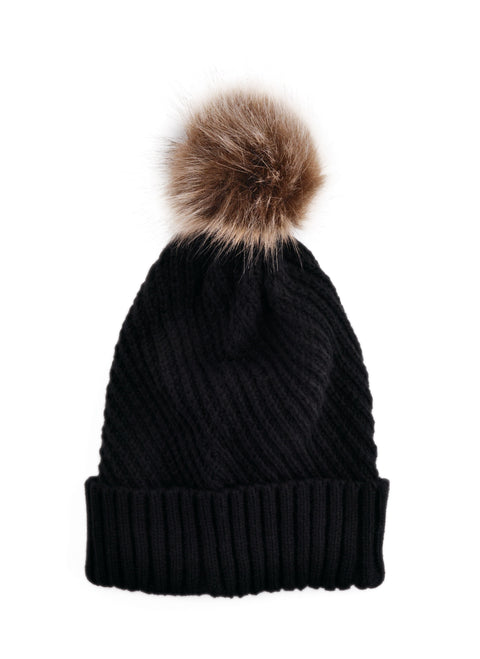Fine Cable Beanie - BLACK
