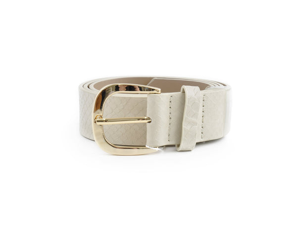 Ladies PU Belt - NEUTRAL SNAKE SML