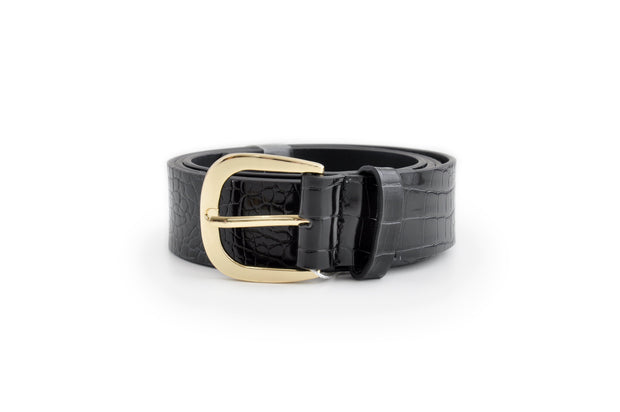 Ladies PU Belt - BLACK CROC LGE