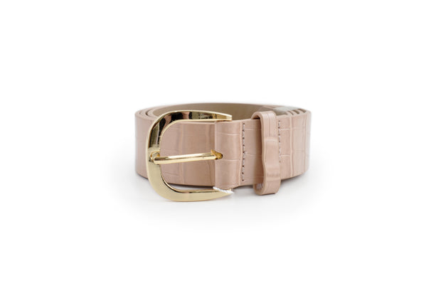 Ladies PU Belt - PINK CROC SML