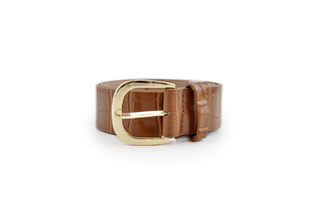 Ladies PU Belt - BROWN CROC SML