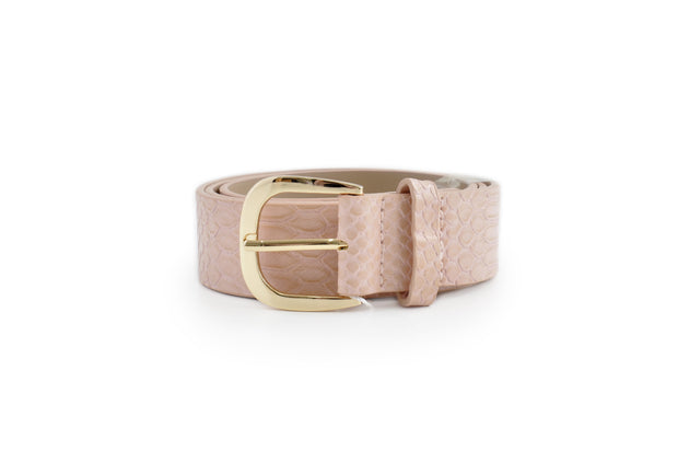 Ladies PU Belt - PINK SNAKE SML