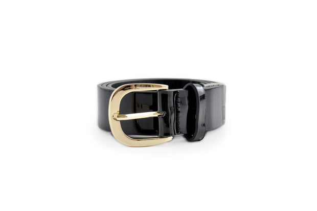 Ladies PU Belt - PATENT BLACK LGE