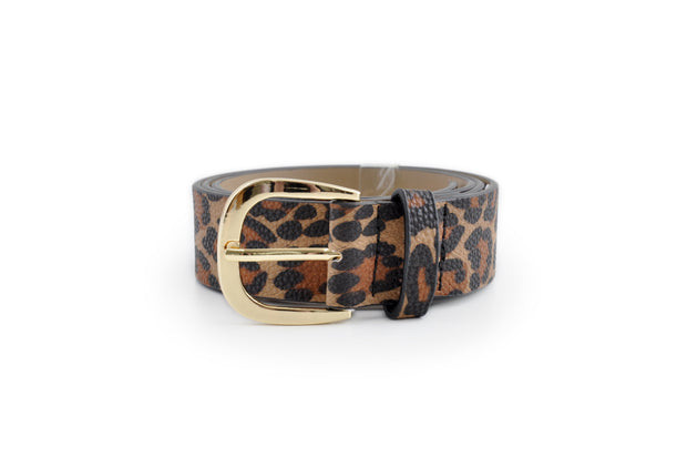 Ladies PU Belt - LEOPARD MED