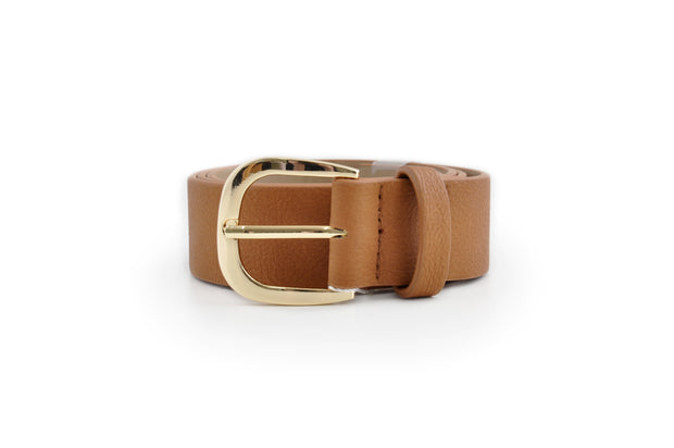 Ladies PU Belt - TAN MED