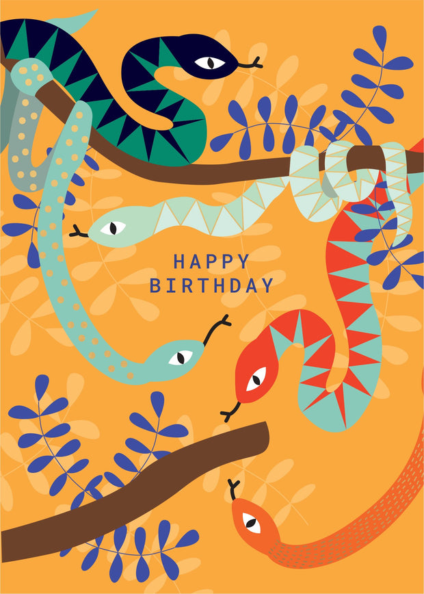 Birthday Card - Jungle Snakes