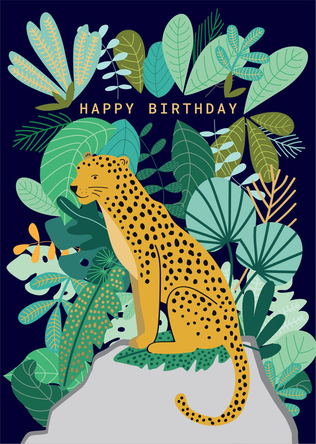 Birthday Card - Jungle Leopard