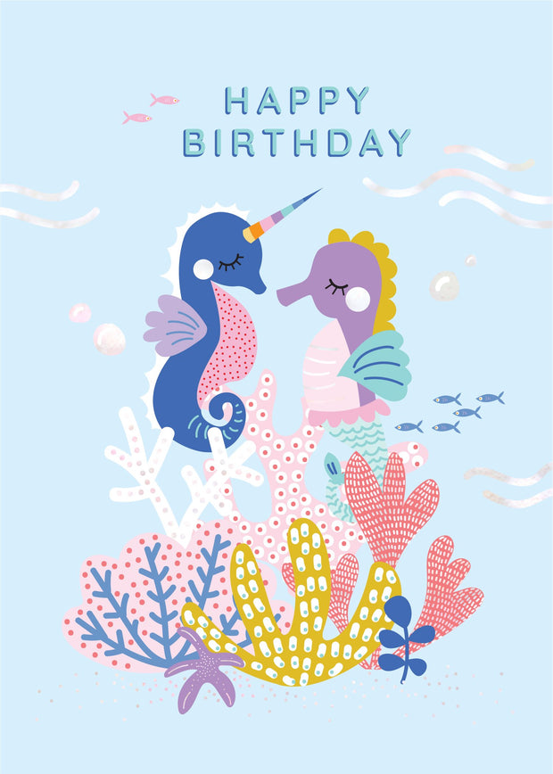 Birthday Card - Seahorses