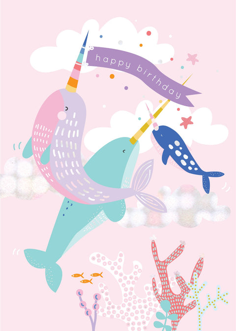 Birthday Card - Narwhals
