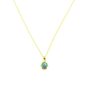 Necklace - Blue Hand