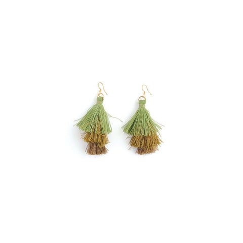 Decorative Earrings - Layered Tassel Moss