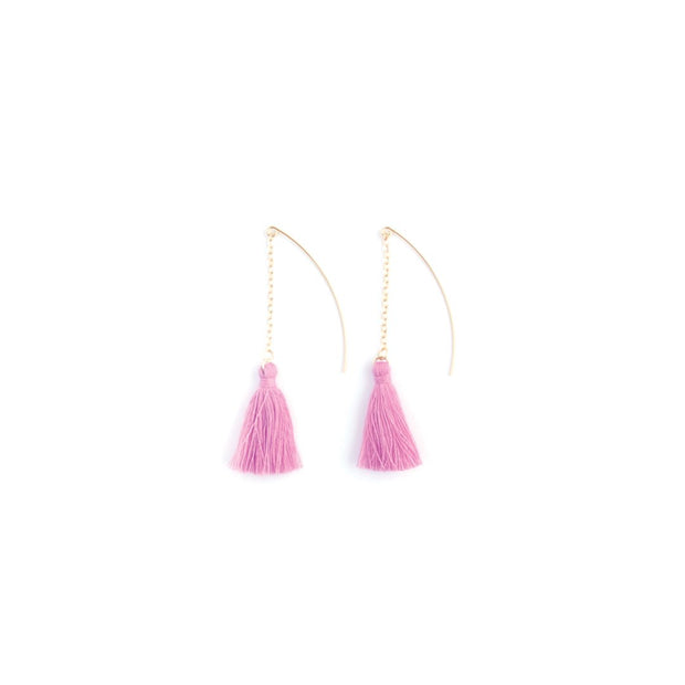 Decorative Earrings - Hanging Tassel Lilac