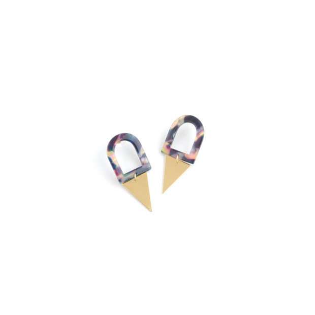 Decorative Earrings - Curve Tri Navy Tonal