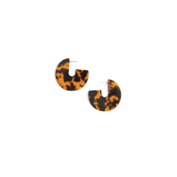 Decorative Earrings - Semi Circle Tan