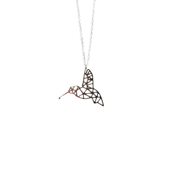 Silver Necklace - GEO HUMMINGBIRD