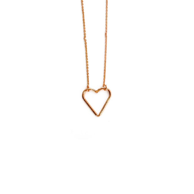 Rose Gold Necklace - HEART OUTLINE