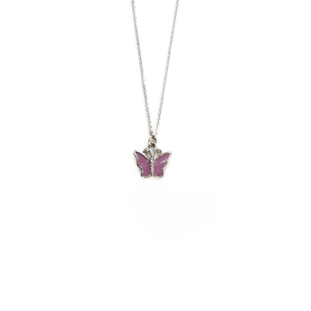 Silver Necklace - PURPLE FLUTTER