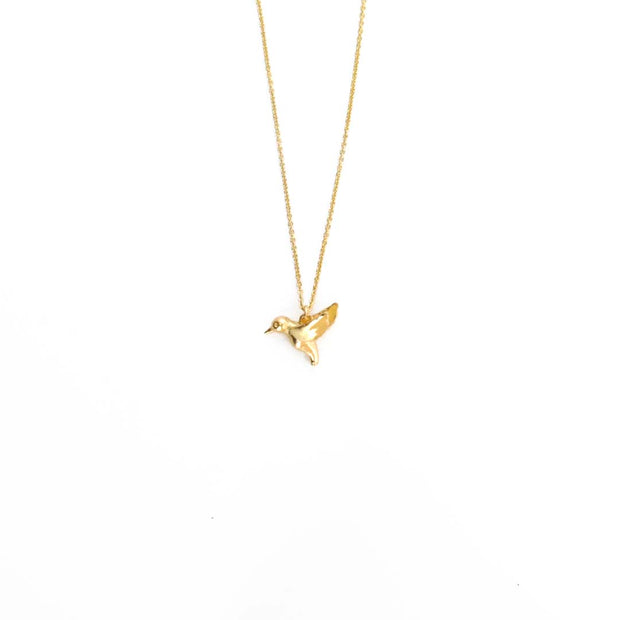 Gold Necklace - HUMMINGBIRD
