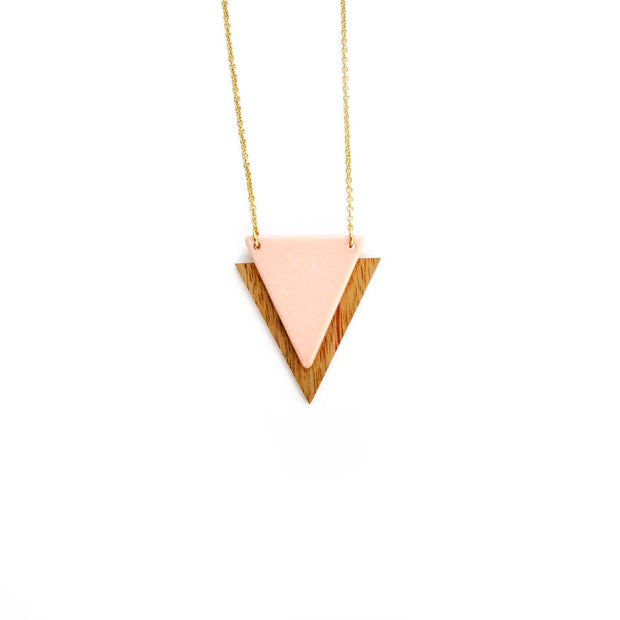 Gold Triangle Necklace - BLUSH