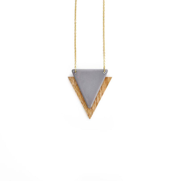 Gold Triangle Necklace - CHARCOAL