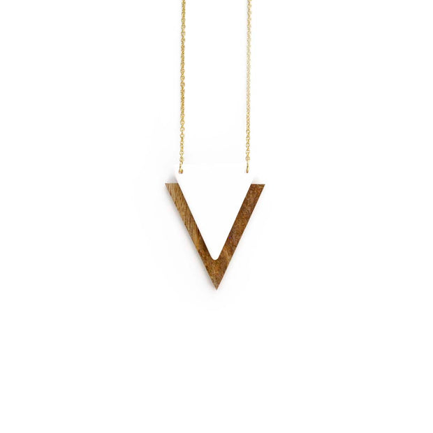 Gold Triangle Necklace - WHITE