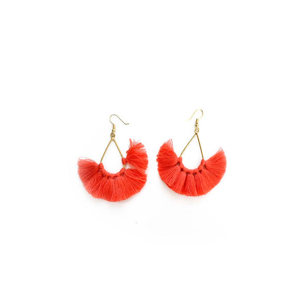 Gold Tassel Fan Earrrings - CORAL