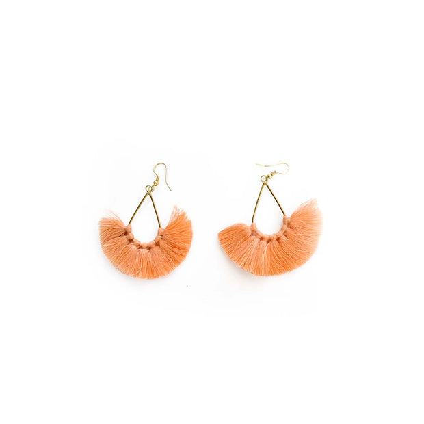 Gold Tassel Fan Earrings - BLUSH