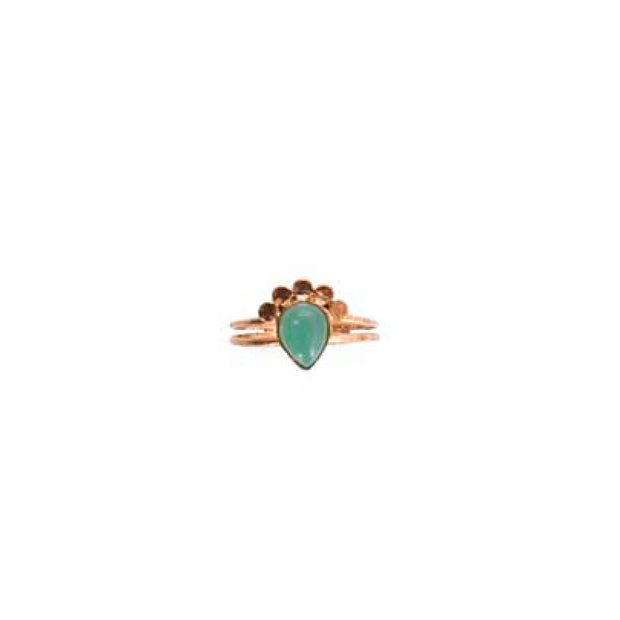 Rose Gold Teardrop Ring - S/M AQUA
