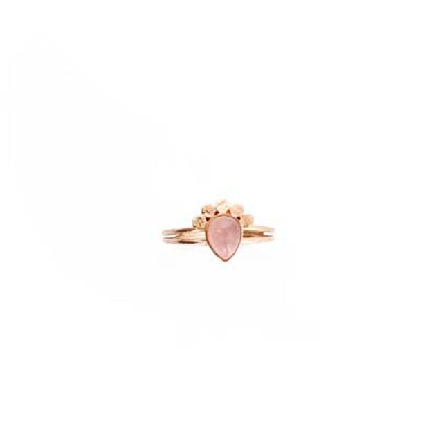 Rose Gold Teardrop Ring - M/L LT PINK