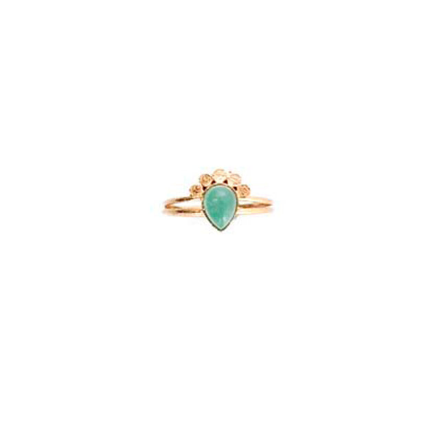 Rose Gold Teardrop Ring - M/L AQUA