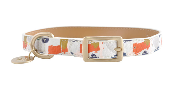 PU Leather Pet Collar M - ABSTRACT