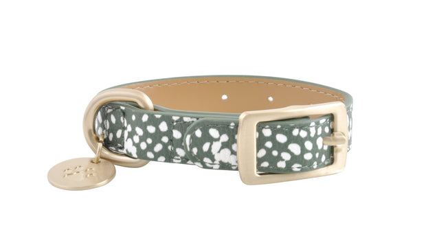 PU Leather Pet Collar XS - KHAKI SPOTS