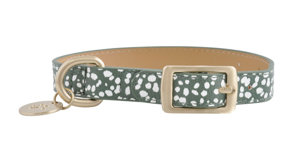 PU Leather Pet Collar S - KHAKI SPOTS