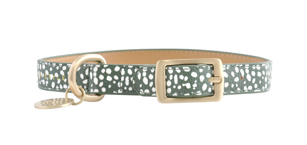 PU Leather Pet Collar M - KHAKI SPOTS