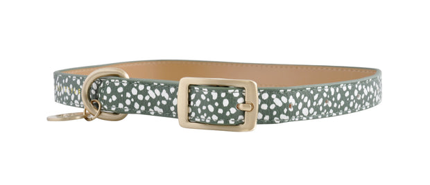 PU Leather Pet Collar L - KHAKI SPOTS