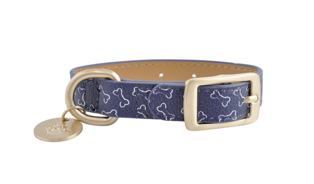 PU Leather Pet Collar XS - BONES