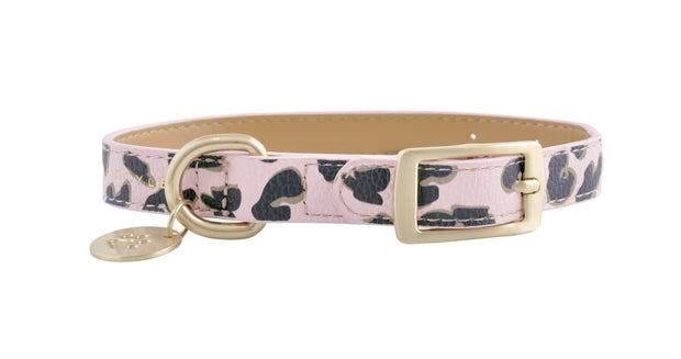 PU Leather Pet Collar S - PINK LEOPARD