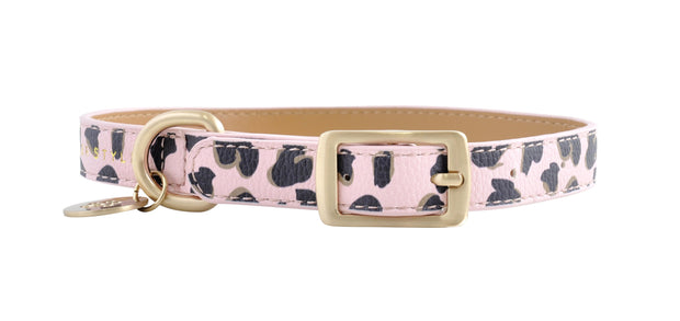 PU Leather Pet Collar M - PINK LEOPARD