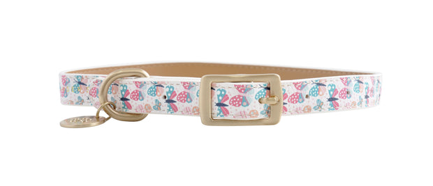 PU Leather Pet Collar L - BUTTERFLIES