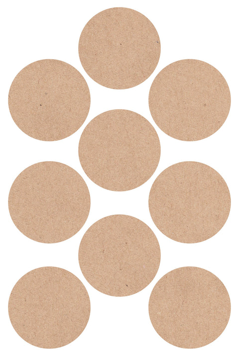 Kraft Circle Stickers - 32pcs - 4 Sheets