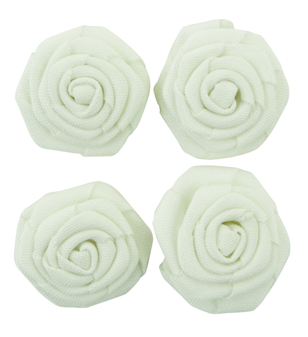 Burlap White Flowers - 4pcs
