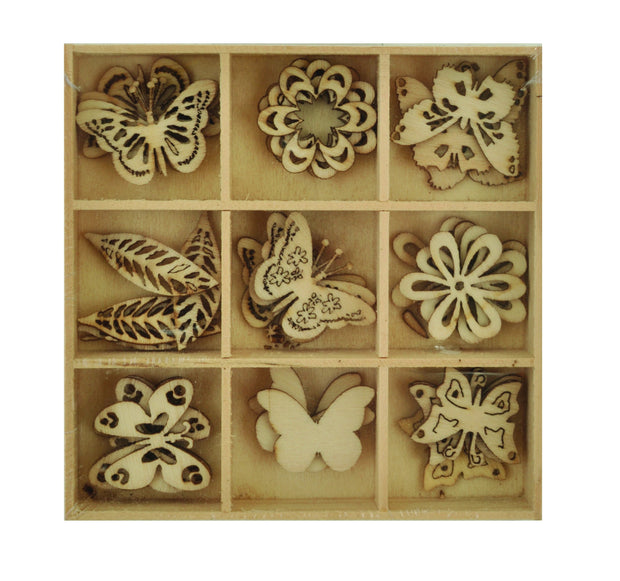 Wooden Shapes - Butterfly - 45pcs