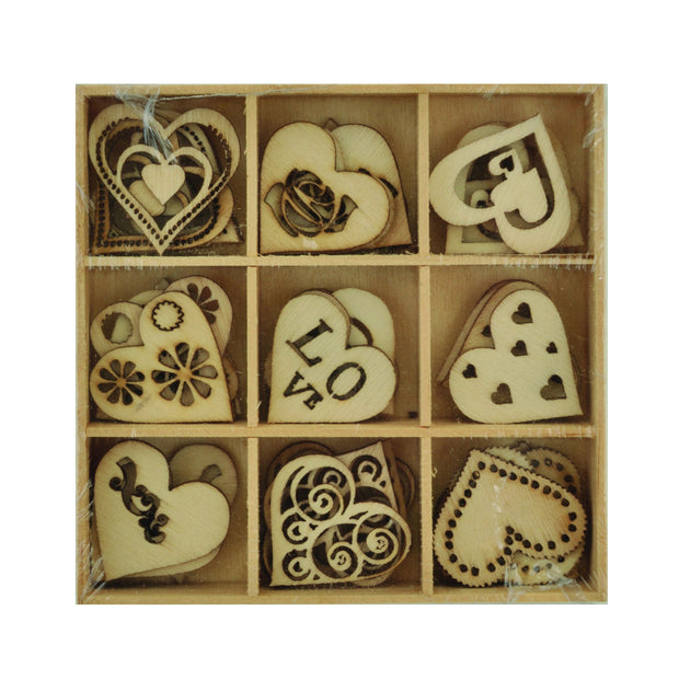 Wooden Shapes - Love - 45pcs