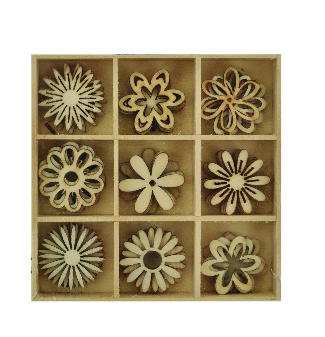 Wooden Shapes - Flower - 45pcs