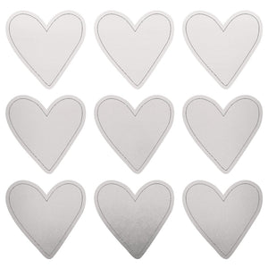 Foil Stickers - Silver Hearts