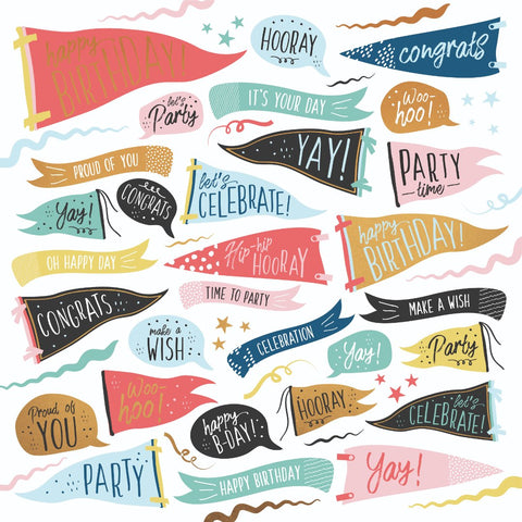"Oh Happy Day! 12 x 12"" Scrapbook Paper - Time to Party"