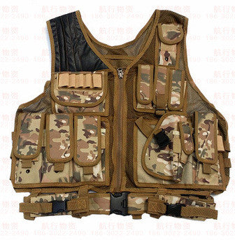 Military Grade Tactical Vest, Brown Camo