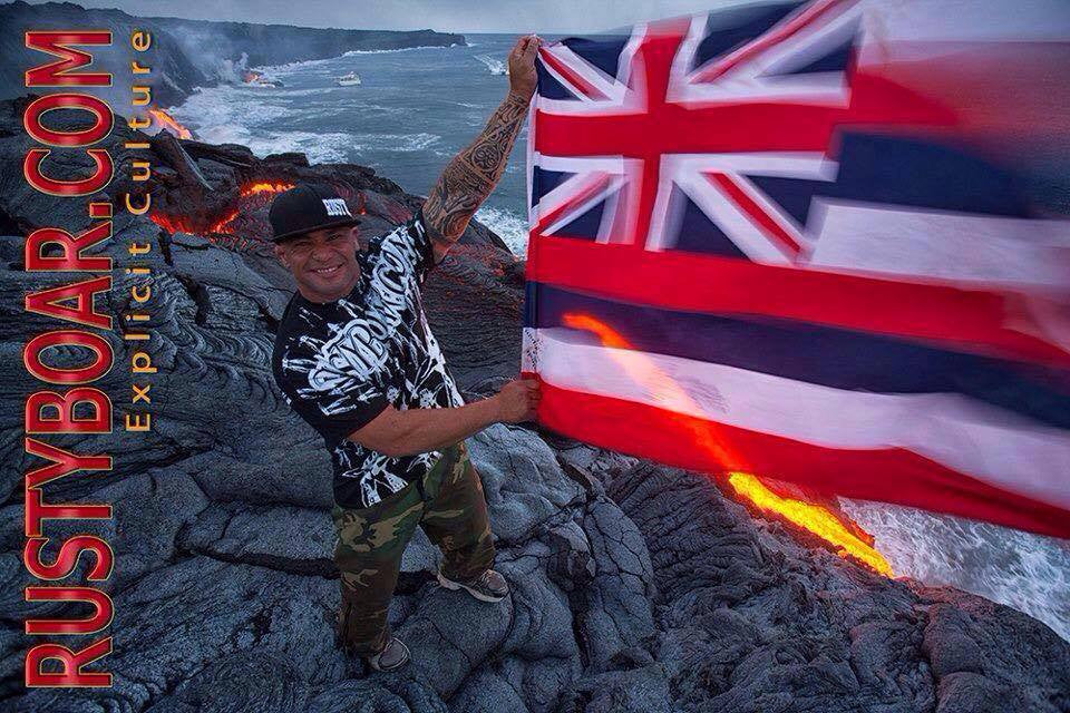T'Jaye Forsythe on the Big Island of Hawaii at where the lava flow meets the ocean